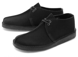 NIB MENS SIZE 9.5 CLARKS ASHTON SUEDE SOLID ROUND TOE SHOES BLACK 26141905
