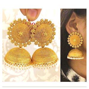 Image Is Loading Indian Ethnic Gold Plated Pearl Jhumka Jhumki Earring