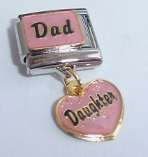 DAD DAUGHTER 9mm Italian Charm - I Love My Girl Pink Heart fits Classic Bracelet