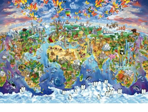 Wentworth Puzzle 250 Piece World Wonders Wooden Map Wood Jigsaw Made in England