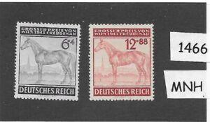 #1466    MNH stamp set / 1943 Third Reich / Vienna Gran Prix Horse Race  Germany