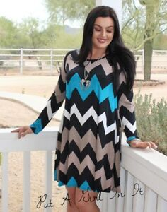 6a707989e0 PLUS SIZE TEAL BLACK CHEVRON BOHO BABYDOLL POCKETS LOOSE MINI DRESS ...