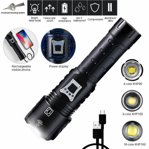 Most Bright XHP90 XHP100 LED Flashlight USB Rechargeable Zoom Torch Light 26650
