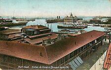 Vintage Postcard Port Said Entre Du Canal Et Bureaux De La Cie