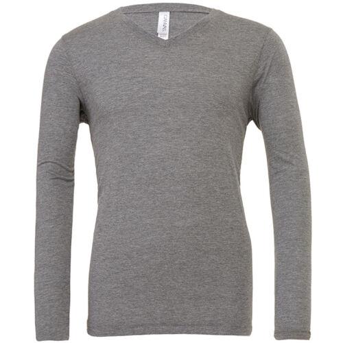 Bella+Canvas Triblend Long Sleeves V Neck T-shirt Mens Polycotton Tshirts BE103