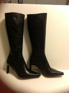LUISA LUISA LUISA D'ORIO KNEE HIGH LEATHER BLACK Stiefel SIZE 39 MADE IN ITALY     9cd927