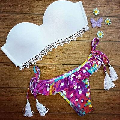 2015 Women Bikini Set Sexy Bra Floral Swimsuit Push-up Swimwear Beach