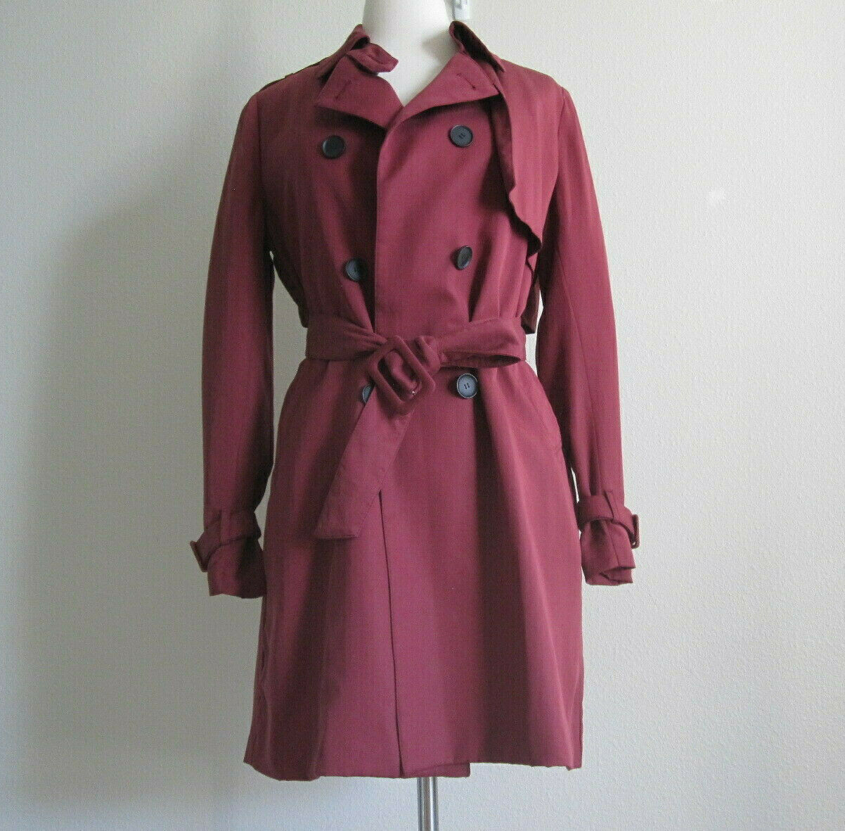 Burgundy Womens Cotton Trenchcoat Trench Coat Military Style Double Breasted