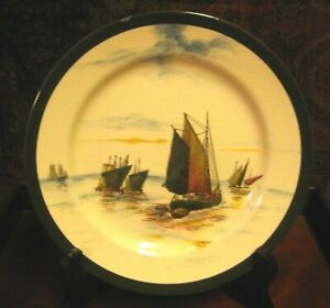 ANTIQUE-ROYAL-DOULTON-SERIES-WARE-SIGNED-PLATE-c-1907-1922-SAILING-SHIPS
