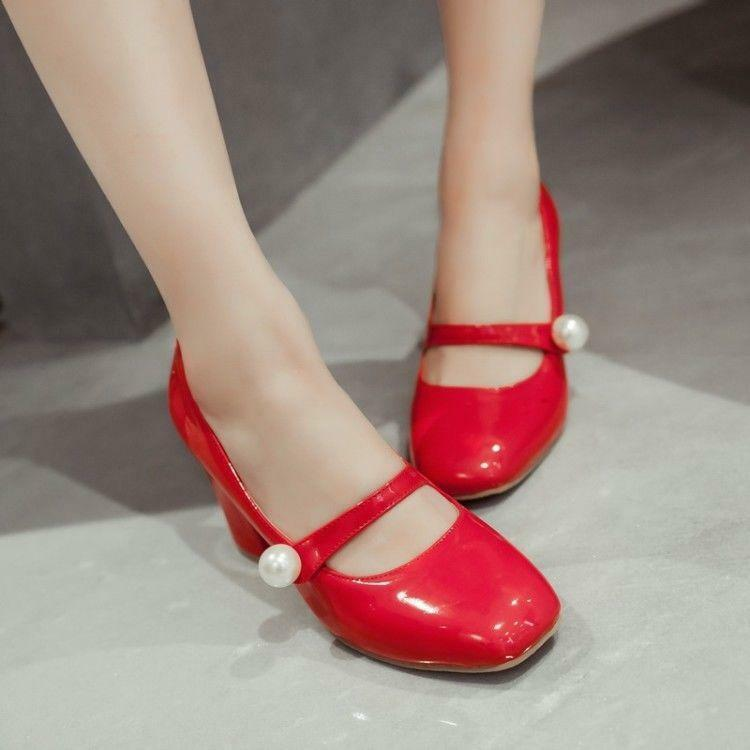 Plus Size Cute Lolita Womens Elegant Toe Block Block Toe Heel Mary Janes Pumps Shoes Chic 45ab35
