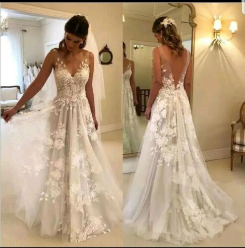UK Vintage dentelle de mariée blanc//ivoire Une ligne col V Plage Robes de mariée Taille 6-20