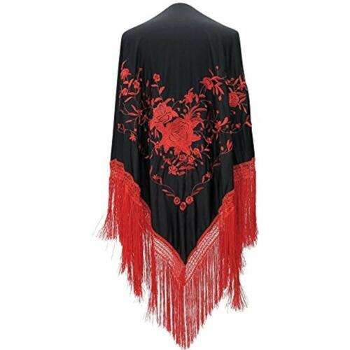 Spanish Flamenco Dance Shawl Black Red Flowers And Fringes Large At Womens Store