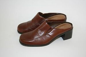 Naturalizer-Brown-LEATHER-Loafer-Womens-Mule-2-034-Heel-Shoes-Size-7-M-775NA40