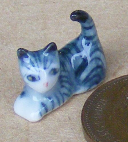 Escala 1:12 casa de muñecas en miniatura a rayas de cerámica Gatito Gato Animal Adorno Ta