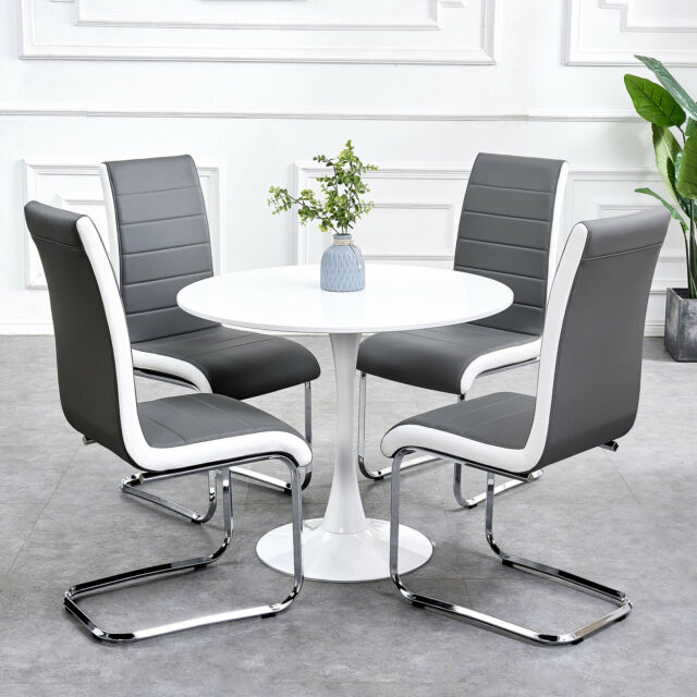 Gizza Gray White Sides Faux Leather Dining Room Chairs Metal Chrome Legs High Back Kitchen Furniture Set Of 4 Dining Room Furniture Dining Chairs
