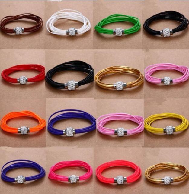 Leather Wrap Wristband Cuff Punk Magnetic Rhinestone Buckle Bracelet Bangle BUAU