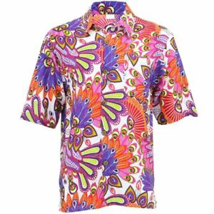 Men-039-s-Loud-Shirt-Retro-Psychedelic-Funky-Party-Hawaiian-Tropical-PINK-WHITE