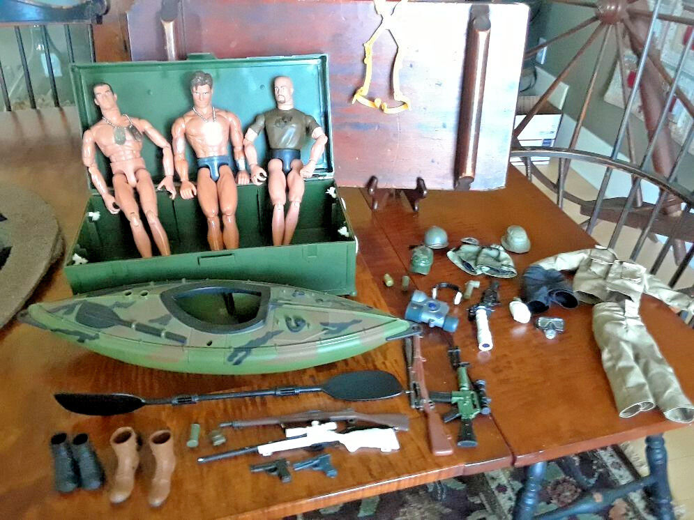 G.I. Joe Lot 3 G.I. Joe's, Kayak, Clothes, Hats, Guns, Walkie, Headset, and More