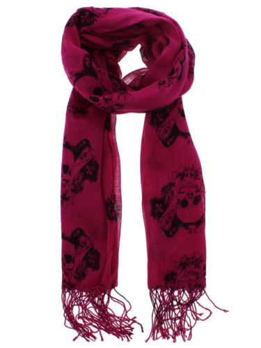 Zac/'s Alter Ego Long Lightweight Scarf with Skull /& Scrolls Print