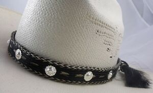 3febc8955bf Image is loading Horsehair-hat-band-sterling-conchos-AMAZING-hat-band-
