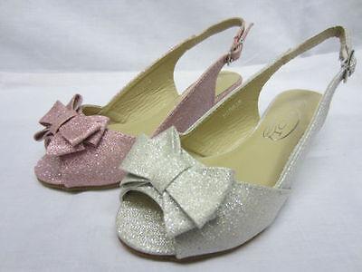 H1063-Niñas Spoton sintéticas Brillo Cuña Sandalias 2 Colores, Plateado Y Rosa!