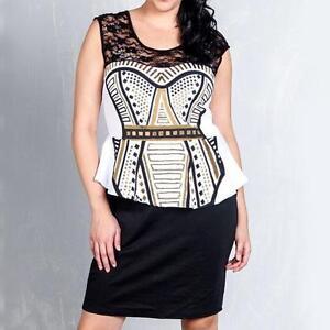 D12-3X-Plus-Size-Lace-Gold-Foil-Print-Peplum-Cocktail-Dress-Black-White-3X