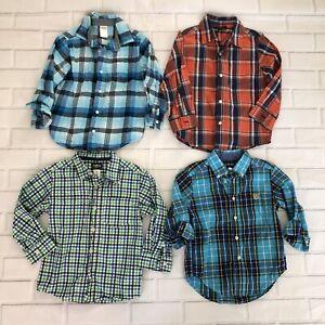 Lot-of-4-Boys-Size-4T-Oshkosh-Gymboree-Chaps-Long-Sleeve-Button-Up-Plaid-Shirts