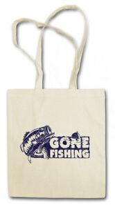GONE FISHING STOFFTASCHE Fischen Fischer Fisch Skelett Angeln Angler Fluss