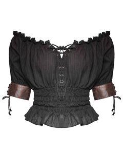 Punk-Rave-Womens-Gypsy-Top-Black-Brown-Gothic-Steampunk-VTG-Boho-Victorian