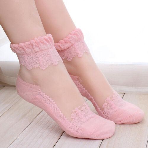 Women/'s Cute Ultrathin Transparent Beautiful Crystal Lace Elastic Short Socks