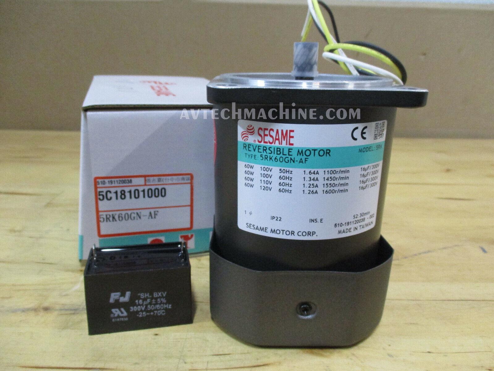 Sesame 5IK60GN-AF Induction Motor Single Phase 110V 4P 50//60Hz Oriental