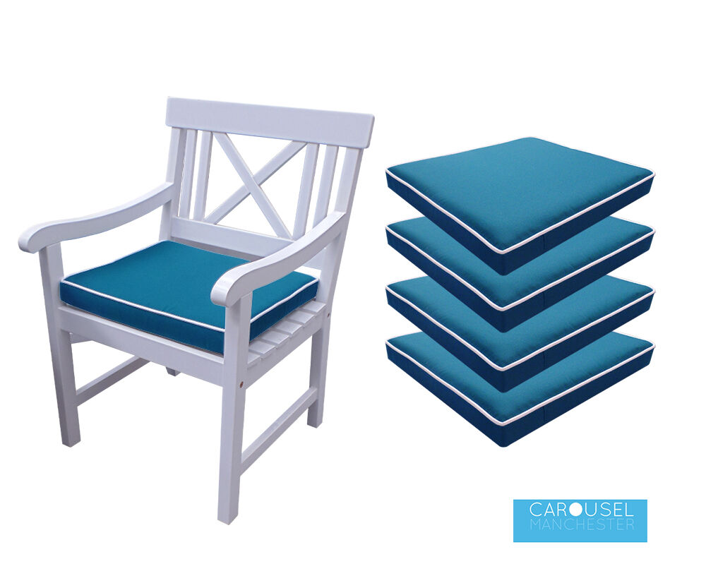 Memory Foam Garden Chair Cushion Pad   qty of 1, 2 ,3 and 4    50x45   Pale blå