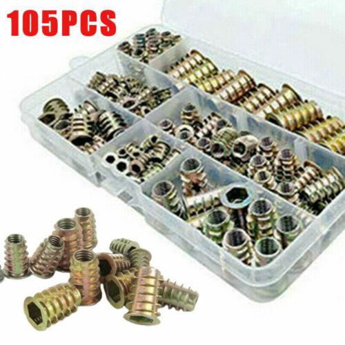 105pcs M4 M5 M6 M8 M10 Hex Socket Drive Threaded Inserts Nuts for Wood Furniture