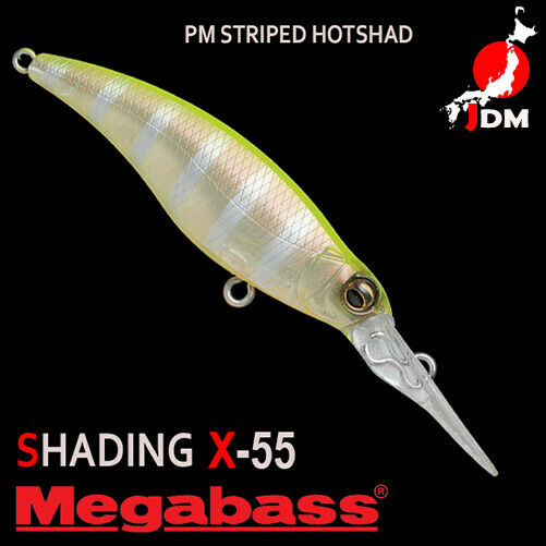 Pesca 2173 Esche a immersione Megabass Shading X 55 Suspend Lure PM Striped Hot Shad
