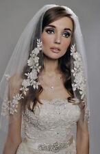 New champagne 2T Elbow Wedding Veil bridal Veils  Applique with comb Q2