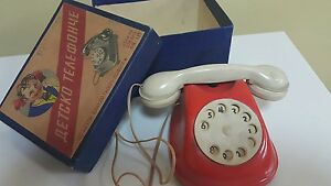 VINTAGE BAKELITE TOY TELEPHONE 1960 PHONE ORIGINAL BOX AFTER WAR TREASURE SOFIA