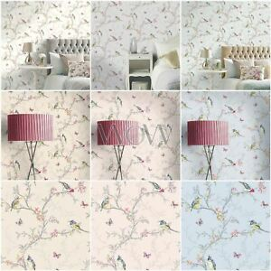 Phoebe Birds Wallpaper Pastel Floral Butterly Various Colours Ebay