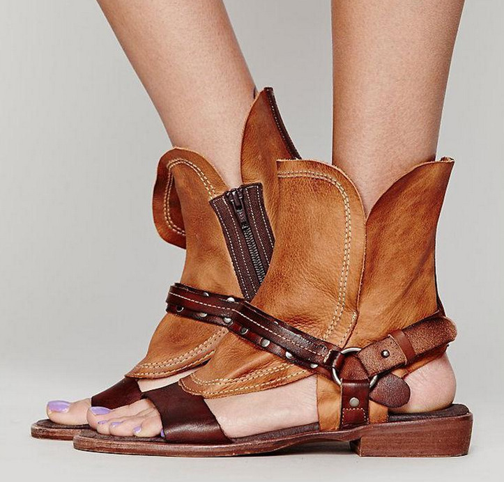 Womens Vitnage Open Toe Punk Retro Sheep Leather Sandals Boot Suede Shoes Zip