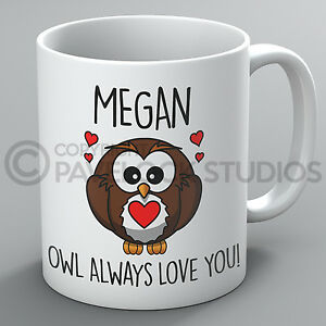 Personalised Owl Always Love You Mug Valentines Day Him Her Cute