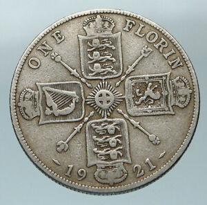 1921-Great-Britain-UK-King-George-V-United-Kingdom-Big-SILVER-FLORIN-Coin-i84528