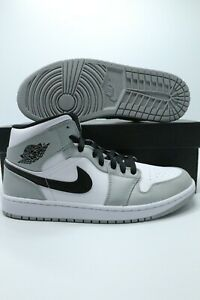 Nike Air Jordan 1 Mid Light Smoke Grey Black White 554725-092 ...