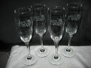 Lot Set of 4 YEAR 2000 Millennium STEMMED CHAMPAGNE Flutes DRINKING GLASSES–NIB