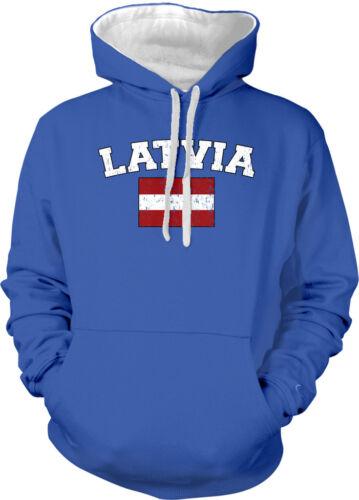 Latvia Country Flag Latvija Latvian Pride Football Soccer 2-tone Hoodie Pullover