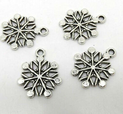 Free Ship 40/200Pcs Antique Silver Christmas Snowflake Charms Pendant 20x17mm