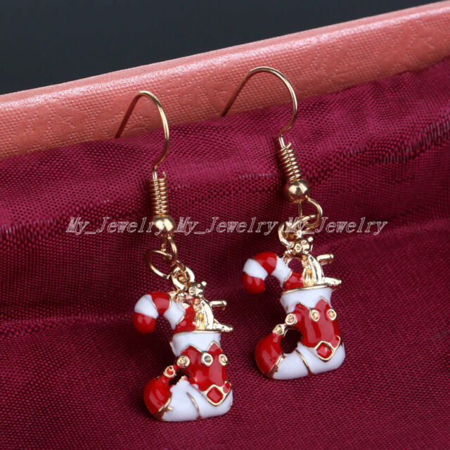 New Christmas Earrings Women Gold Silver  Hook Drop Drop Earring Xmas Jewelry