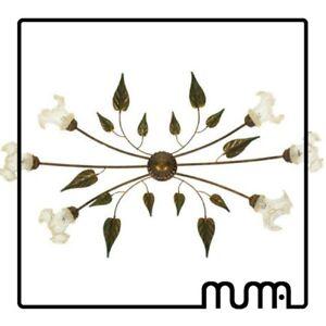 Lampadario-Plafoniera-6-luci-stile-country-shabby-con-vetro-di-Murano-oro