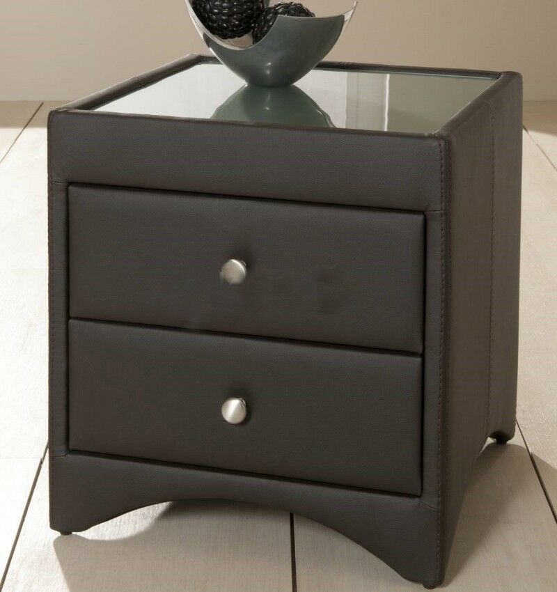 quality design d635e 7a1e7 Details about Kaydian 2 Drawer Brown Bycast Shiny Leather Bedside Table  Modern Stylish Design