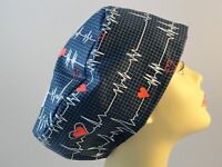 Womens Surgical_scrub Hat_cap_beats In Time_dk Blue_red Hearts_beats_cotton