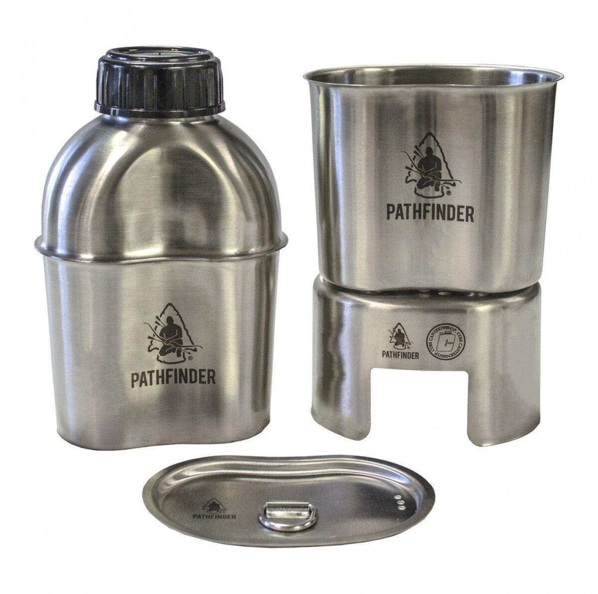 Pathfinder Edelstahl Canteen Cooking Set beinhaltet Cup, Herd, Canteen