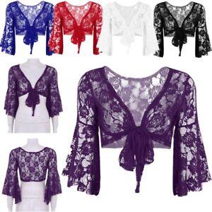Womens-Lace-Bolero-Shrug-Tops-Cardigan-Wrap-Long-Flare-Sleeves-Cape-Dance-Party